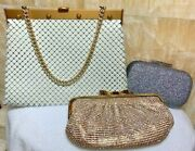 Lot Of 3 Handbags Vintage Whiting And Davis Handbag, Silver And Gold Clutch On Chain