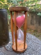 19th C Ancient Collectible Wooden 48 Minute Timer Table Sandglass Clock With Box