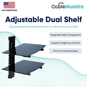 Dual Shelf Adjustable Wall Mount For Tv Cable Box Routers Dvr Media Players Dvd