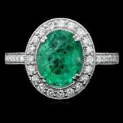 12900 Certified 14k White Gold 2.00ct Rare Colombian Emerald .50ct Diamond Ring