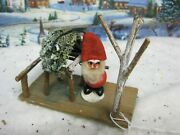 Vintage German Santa Elf With Wooden Twig Gazebo 80