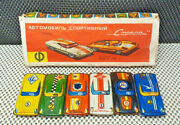 Old Case 6 Cars Sheet Metal Tin Toys Ussr Year 1980 Collection