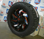 5 20x9 D755 Fuel Reaction Red Wheels Rim 32 At Tires 5x5 Jeep Gladiator Jt