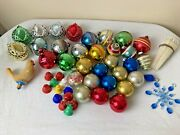 Vtg Christmas Tree Ornaments Plastic Glass Indents, Rounds, Bells, Ice Cycles