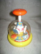 Vintage Plastic Tomy Push'n Merry Go Zoo Spinning Kids Toy Carousel Yellow Red
