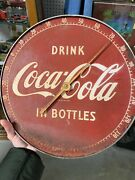 Vintage 1950 Coca-cola Coke Original Drink In Bottle 12and039 Thermometer Collectible