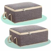 2 Pack Grey Storage Box Zipper Lid Decorative Foldable Organizer With Carrying