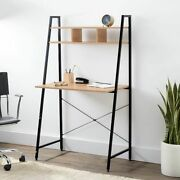 Home And Office Black Ladder Steel Frame Desk With Wooden Bookcase Above