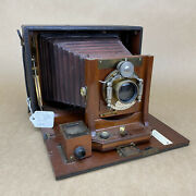Antique 1896 Cycle Poco Red Bellow Folding Bed Plate 5x7 Camera - Rare