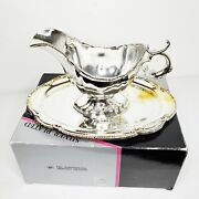 Vintage Sheffield Silver Plated Gravy Sauce Boat With Oval Tray Set 8898 In Box