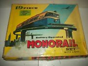 Vintage Cosmo Monorail Set 9999 Battery Operated W/ Track And Supports In Orig Box