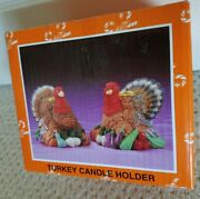 Turkey Candle Holder Thanksgiving Set Of Two Male Female Publix Resin Nib New