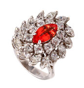 Stunning Cocktail 18 Kt Ring With 4.08 Cts Orange Sapphire And Diamonds