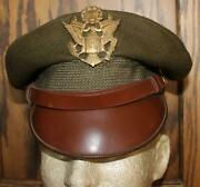 Ww Ii Us Army Air Force Officerand039s Large Hat Badge Soft Bill Crusher Wool Hat Cap