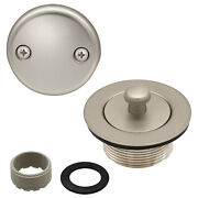 Lift And Turn Bathtub Replacement Tub Drain Overflow Cover Kit, Satin Nickel