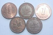 5 X Germany 1 Pfennig Coins. Cold War Period. 1950-89. Just Andpound5. Nice Coins.