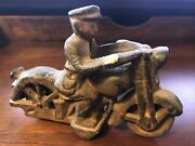 Cast Iron Toy Motorcycle With Police Patrol Officer America Cops Antique