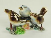 Vintage Thames Japan Hand Paint Ceramic Finch Or Sparrow On Branch Birds Flowers