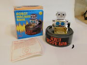 Vintage Robot Machine Bank Wind-up Toy In Original Box Made In Hong Kong