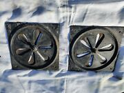 Large Antique Heavy Cast Iron Circular Hit And Miss Air Vent With Frame. 18