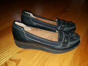 Easy Spirit Anti Gravity Black Leather Loafers Womans Size 7 M