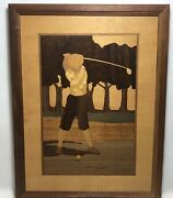 Nelson Hudson River Inlay Wood Marquetry Vintage Golf Duffer Golfer Signed