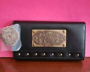 Vintage 2007 Sanrio Hello Kitty Germany Black Faux Leather Wallet W/studs-nwt