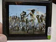 Colored Glass Magic Lantern Slide Ate African Natives Zulu Warriors With Weapons