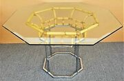 Vintage Mcm Milo Baughman Style Chrome Bamboo Rattan Glass Dining Gaming Table