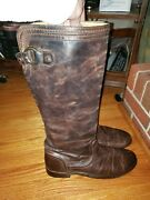 Frye Brown Distressed Leather Equestrian Riding Knee High Boots Womans Size 11