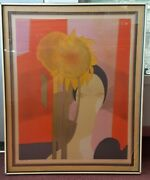 Andre Minaux Femme Au Tournesol Woman With Sunflower 1970 Lithograph Framed