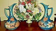 Pair Of Vintage Roseville Pottery Magnolia Pitchers 16 Rare Ww Ii 1943 15-15