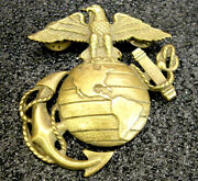 Usa Antique Bronze Us Marine Corps Pin With Eagle World And Anchor Design Rare