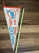 Vintage 1973 Miami Dolphins World Champions Pennant Super Bowl Undefeated Season