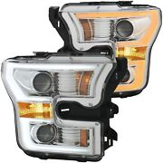 Anzo Projector H.l. Plank Style Switchback Chrome Amber For 2015-2017 Ford F-150