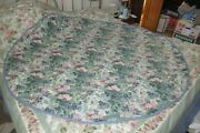 Laura Ashley Blue Pink Green White Floral 72 Round Tablecloth Cotton Polyester