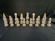 Richard The Lion-hearted Chess Set Ceramic Bisque Hand Painted Rare 7.5 King