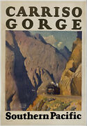 Original Vintage Poster Carriso Gorge - Southern Pacific Railroad Travel Linen