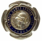 1908 Olympic Games London Original Judgeand039s Silvered And Blue Enamel Badge Rare