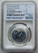 Ngc Pf70 Fr Australia 2018 The Earth And Beyond-earth Coloried Silver Coin 1oz Coa