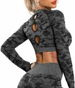 Riojoy Womens Seamless Long Sleeve Yoga Crop Top Thumb Hole Sportswear Fitted Gy