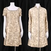 Vintage 60s Ivory Beaded Cocktail Dress And Coat Silk Wedding Evening Outfit M- L