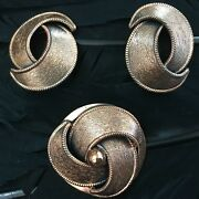 Beautiful Vintage Estate Solid Copper Swirl Design Clip On Earrings And Brooch Set