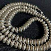 Nice Massive Estate Sterling Silver Hand Made Stamped Beaded Chain Necklace 30