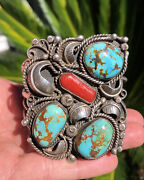 Kenneth Begay Navajo Royston Turquoise And Coral Sterling Silver Cuff Bracelet