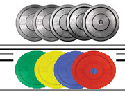 Pro Grade Olympic 2 Rubber Bumper Plates - Lbs/kg - 5 10 15 20 25 35 45
