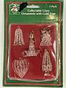 Vintage Spun Glass Christmas Ornaments Gold Trim Set 5 Angel Candle Bell Heart