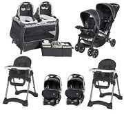 Baby Combo Double Stroller With 2 Car Seats And Bases 2 High Chairs Twins Playard