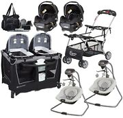 Lightweight Double Stroller Frame With 2 Car Seats 2 Swing Playard Bag Baby Set