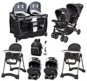 Twins Double Stroller Combo With 2 Car Seats Playard 2 Chairs Bag Baby Travel